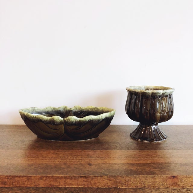 Vintage Green Ceramic Planters For Sale - Image 9 of 9