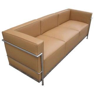 Le Corbusier Lc2 Style Tubular Chromed Steel Tan Sofa For Sale