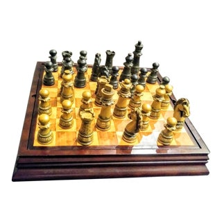 2001 Vintage Bombay Company Solid Wood 3 Games Backgammon, Chess, Checkers Board Game Case For Sale