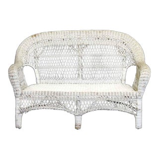 Antique White Wicker Patio Settee For Sale