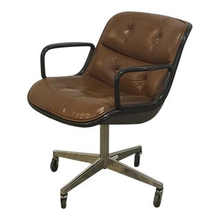 1970's Vintage Knoll Pollock Brown Leather Executive Armchair For Sale