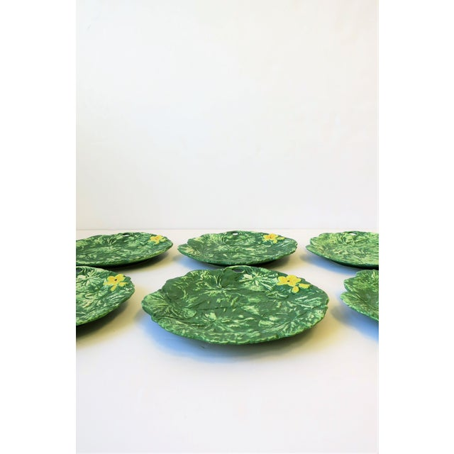 Contemporary Set of Six Italian Designer Green Matte Pottery Plates With Lotus Design For Sale - Image 3 of 10