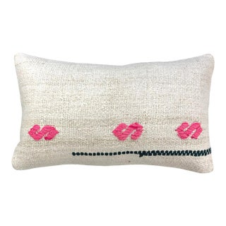 "Hot Pink and Hemp Lumbar Pillow | 12"" X 20"" For Sale"