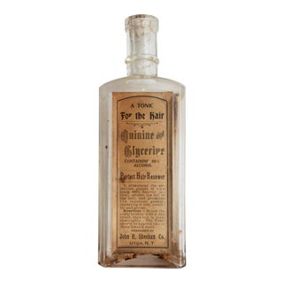 Antique 1880s Victorian Beauty Salon Memorabilia Steampunk Labeled Bottle