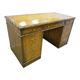 Lane Altavista Furniture Faux Bamboo Writing Desk Mid-Century Modern