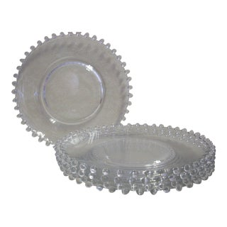 1950s Glass Candlewick Luncheon Plates - Set of 5 For Sale