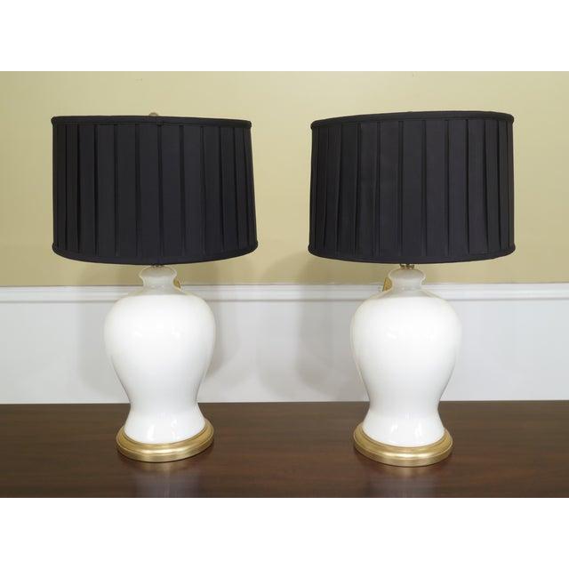 Ralph Lauren Crackle Porcelain Modern Lamps- A Pair For Sale - Image 9 of 9