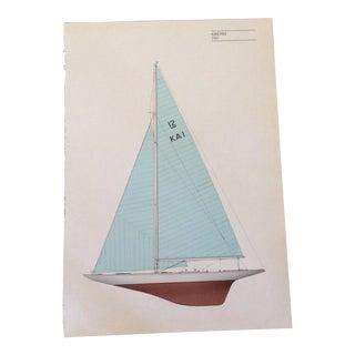 "Vintage ""Gretel"" Sailboat Lithograph Print"