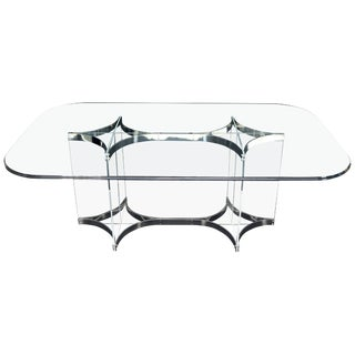 Large Glass Top Lucite & Stainless Base Rectangle Dining Table w/ Rounded Corner For Sale