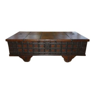 Rustic Old Wood and Iron Bend Pitara Storage Box Coffee Table For Sale