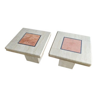 1970s Modernist Travertine Nightstands or Side Tables, a Pair For Sale