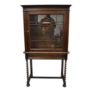 Antique Oak Jacobean English China Cabinet Cupboard on Spiral Barley Twist Legs For Sale