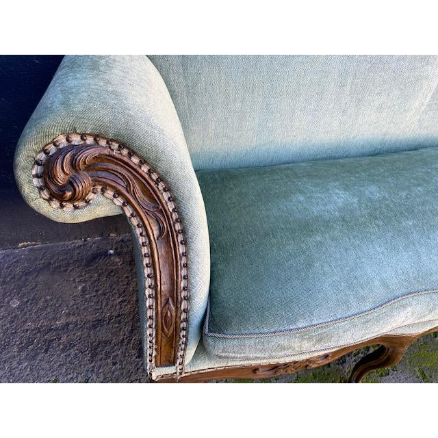 Late 18th C. To Early 19th C. French Walnut Settee With Green Chenile For Sale In Los Angeles - Image 6 of 12