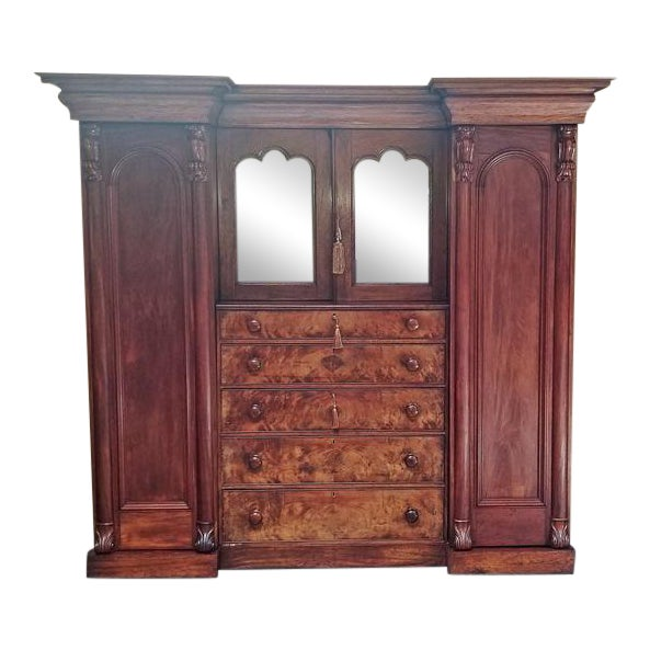 Early 19th Century British Mahogany Gothic Revival Wardrobe For Sale