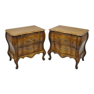 French Provincial Louis XV Style Bombe Nightstands by White Furniture Co - A Pair