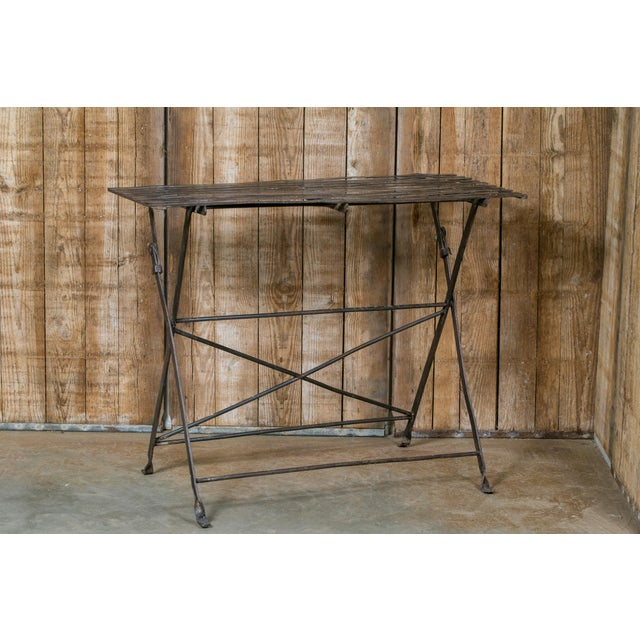 1920s French Iron Folding Table with Metal Slat Top, circa 1920 For Sale - Image 5 of 5
