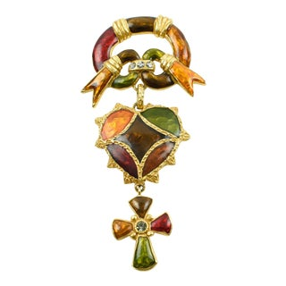 Christian Lacroix Paris Signed Pin Brooch Enamel Jeweled Cross and Heart For Sale