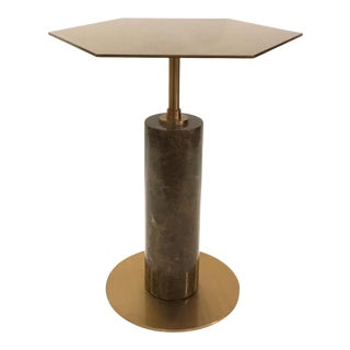 Interlude Modern Rowan Chocolate Brown Stone and Brass and Hexagonal Side Table For Sale