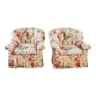 Floral Upholstered Armchairs- A Pair For Sale