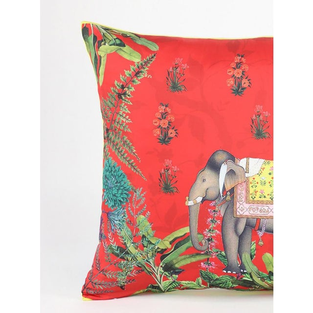 Beautiful Red gray pillow with the vibrant design inspired Ottoman paintings. The front panel is Silk and the back panel...