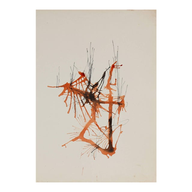 Gwen Stone Drip Abstract in Orange Ink and Watercolor Drawing, 20th Century For Sale