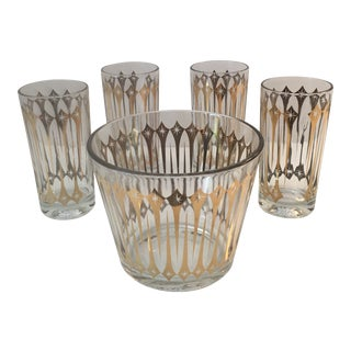 Mid-Century Starlight Glass Ice Bucket With Matching Highball Glasses - 5 Pieces For Sale