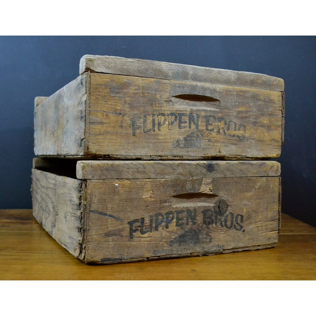 Flippen Bros. Wooden Fruit Crates - A Pair - Image 7 of 7