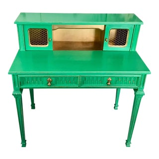 1970s Italianate Emerald and Gold Desk or Vanity For Sale