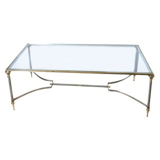 Vintage Italian Brushed Steel & Brass Rectangular Directoire Neoclassical Coffee Table For Sale