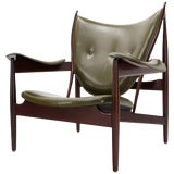 Image of Olive Leather Dark Walnut Chieftain Armchair For Sale