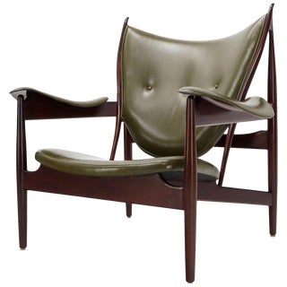 Olive Leather Dark Walnut Chieftain Armchair For Sale