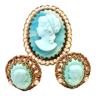 1950's Vintage Germany Gold Filigree Carved Blue Cameo Brooch & Earrings - Set of 3 For Sale