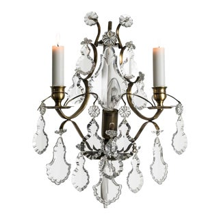 Rococo Style Wall Chandelier in Dark Brass With Pendeloque Crystals (Width 32cm/13 Inches) For Sale