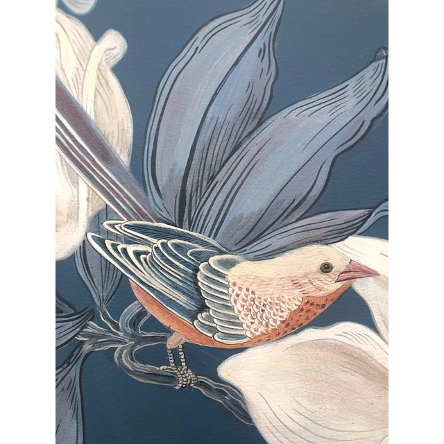 """Canvas """"Look No Feather"""" Contemporary Chinoiserie Bird Acrylic Painting by Allison Cosmos For Sale - Image 7 of 7"""