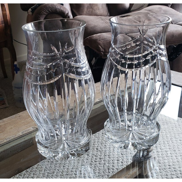1960s Traditional Crystal Candleholders - a Pair For Sale - Image 4 of 4