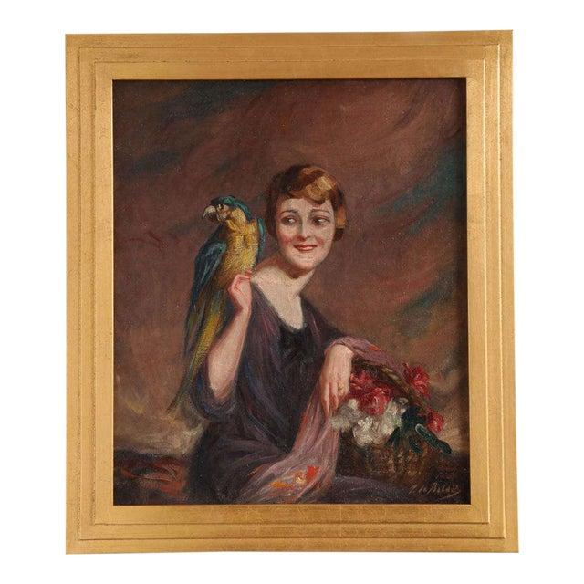 Art Deco Oil on Canvas by Pierre Mitiffiot De Bélair For Sale