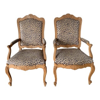 Late 20th Century Antique Beechwood Rococo Chairs- A Pair For Sale