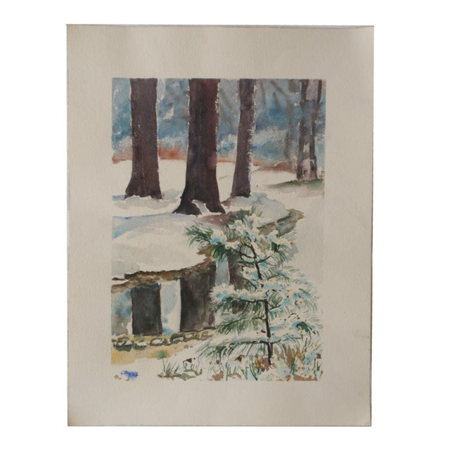 Vintage Watercolor Painting of Snow on Trees - Image 5 of 5