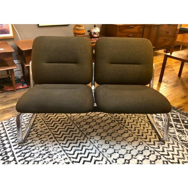 Brown Vintage Steelcase Tandem Bench/Loveseat For Sale - Image 8 of 12