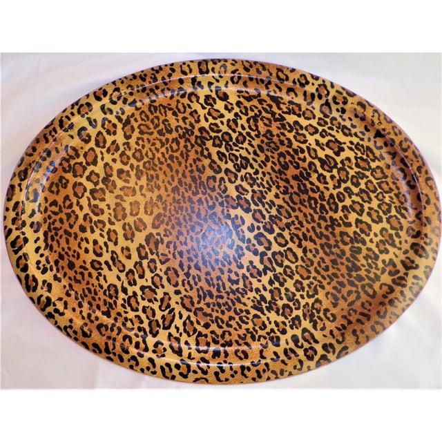 Traditional (Final Markdown Taken) Vintage 1980's Leopard Design Regency Tray For Sale - Image 3 of 9