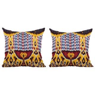 Silk Atlas Ikat Pillows - A Pair