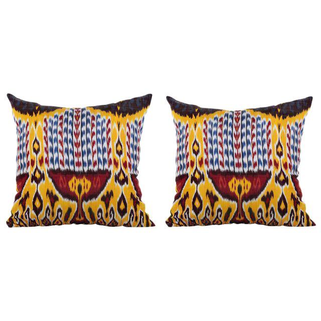 Silk Atlas Ikat Pillows - A Pair - Image 1 of 2