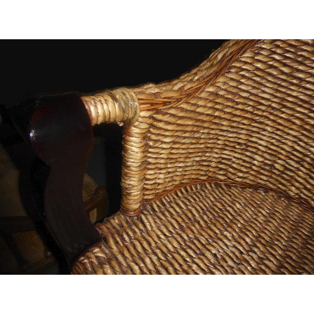 Tiki Palm Beach Style Woven Wicker Bar Stools - A Pair - Image 10 of 11