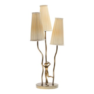 Art Deco Style Brass Table Lamp For Sale