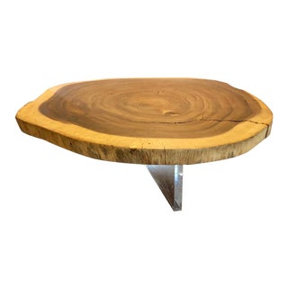 Abstract Wood and Acrylic Ameba Shaped Coffee Table For Sale