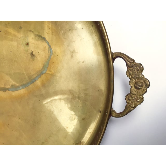 Round Vintage Brass Tray With Floral Handles - Image 7 of 8