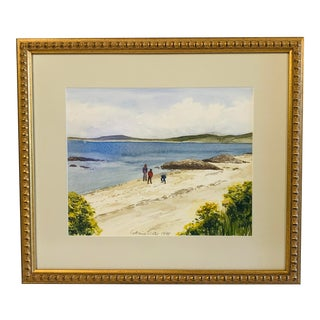 1980s Custom Framed Beach Scene Watercolor For Sale