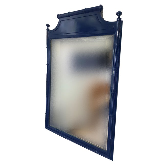 1970s Vintage Henry Link Faux Bamboo Mirror For Sale - Image 5 of 7