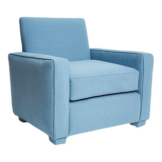Modernist 1950s Denim Upholstered Club Lounge Chair For Sale