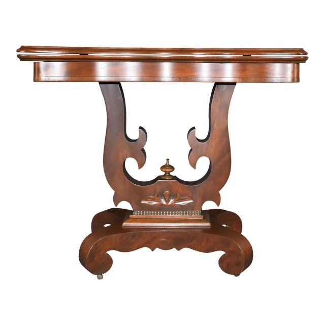 Antique Empire 1830s Mahogany Lyre Base Game Table For Sale